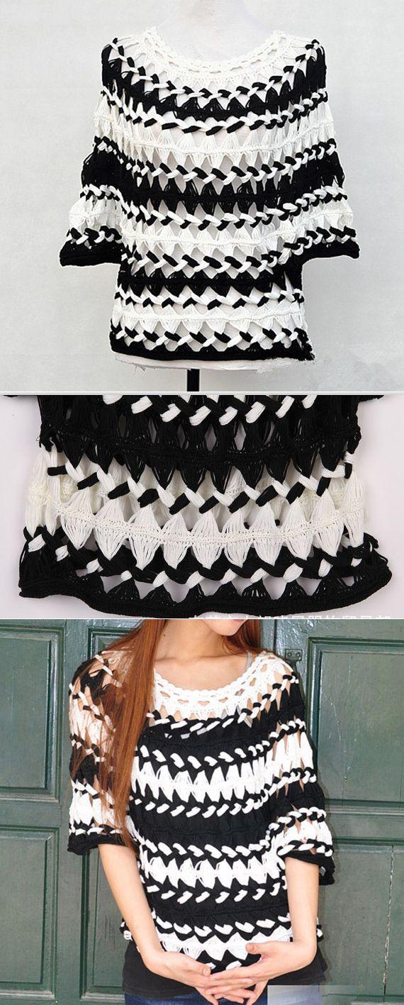 Black and White Striped Tunic Sheer Blouse от Tinacrochetstudio   Вязание   Постила