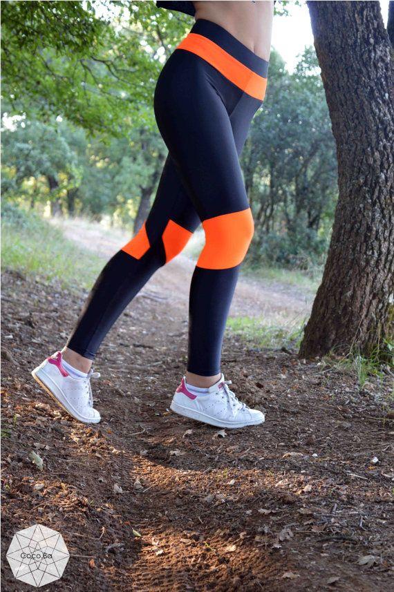 Womens Leggings, Black Neon Orange Leggings, Yoga Leggings, Gym Leggings, Stretch Leggings, Workout Spandex Pants, Sexy Leggings, Handmade