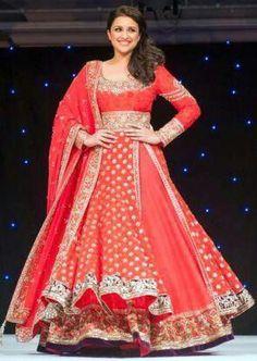 Red~ lacha lehenga by manish malhotra