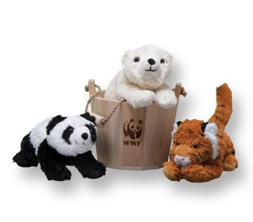 WWF buckets -- stuffed with plush toys and a bargain at only $75. a great gift for children learning about the environment!!