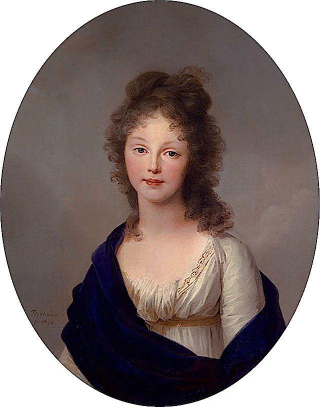 Luise Augusta, Queen of Prussia; by Johann Heinrich Wilhelm Tischbein, c. 1798, in the Hermitage Museum