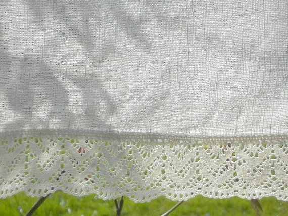 Linen Valance With Lace Edge Trim Natural White Rustic