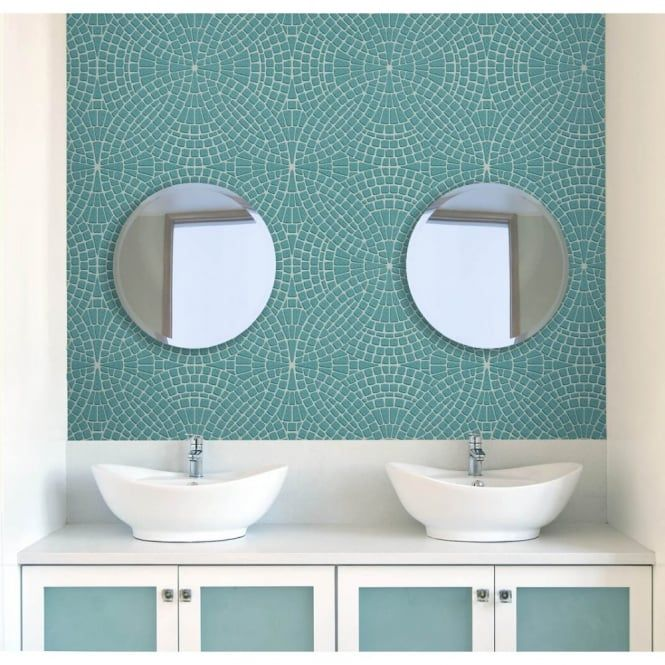 Exceptional Fine Decor Ceramica Mosaic Tile Effect Washable Wallpaper Teal / Silver  (FD40128)   Fine