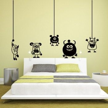 Cartoon Animal Creative Wall Stickers For Kids Room - BLACK