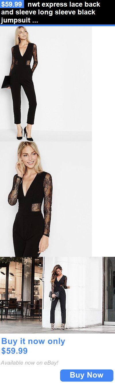 Jumpsuits And Rompers: Nwt Express Lace Back And Sleeve Long Sleeve Black Jumpsuit Jumper 6 BUY IT NOW ONLY: $59.99