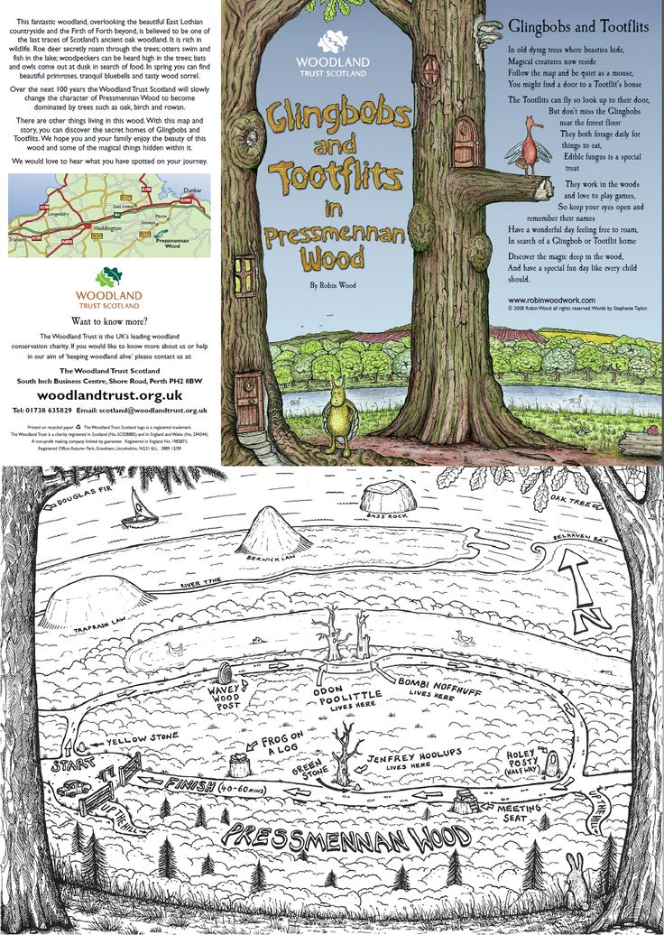 This fab map by Robin Wood can be downloaded here http://www.visiteastlothian.org/presmennan-wood.asp and is all you need for a great day out! Copyright of woodlandtrust.org.uk