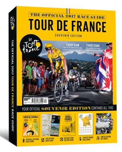 Celebrate the build up to the summer´s biggest sporting event with the only UK Official 2017 Tour de France Race Guide .  Put together by the team behind Procycling magazine, BikeRadar and Cyclingnews, this year's guide is available now!  Inside your souvenir pack you will find a huge 220-page official programme packed with profiles of every team, stats for every rider, maps of every stage, interviews with the stars, expert analysis and so much more.  In addition to the official programme…