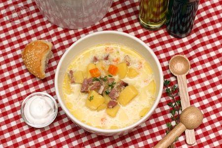 Potato soup with smoked ham - Ciorba de cartofi cu afumatura