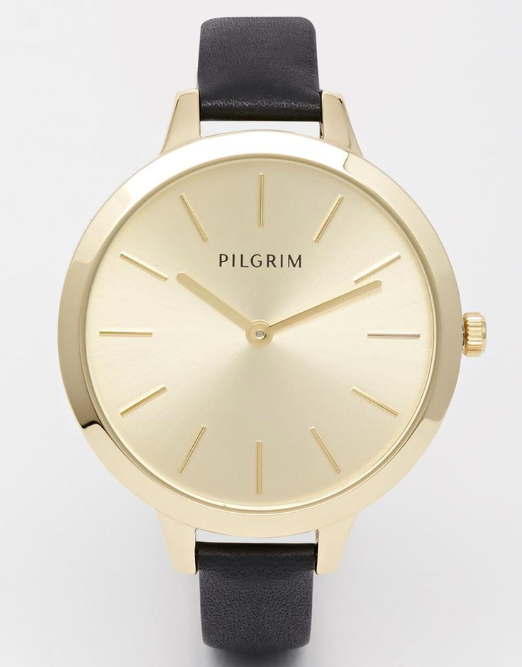 Pilgrim Gold Plated Clean Watch With Leather Strap