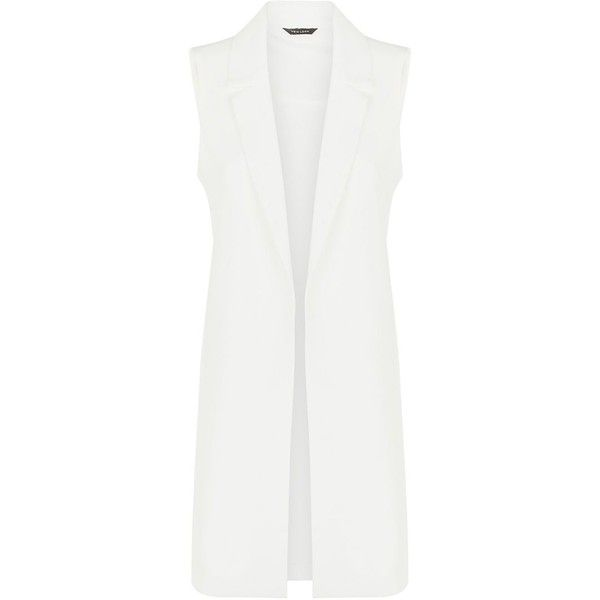 White Crepe Sleeveless Duster Coat ($17) ❤ liked on Polyvore featuring outerwear, coats, jackets, casacos, vest, duster coat, white coat and sleeveless coat