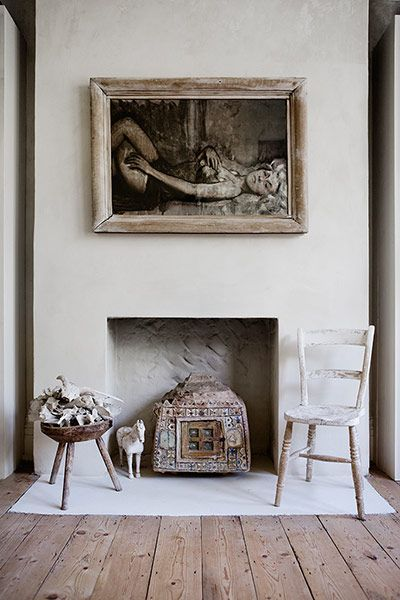 Credit: Richard Boll Look to nature for inspiration I'm drawn to the bleached colours of dried flowers, shell, driftwood and bone, which is where the palette for the flat comes from. I found the sheep's skull by my fireplace while walking on the moors in Devon.