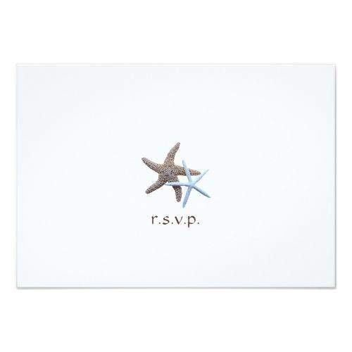 Destination Wedding RSVP Starfish Couple Beach Themed Wedding Reply Card