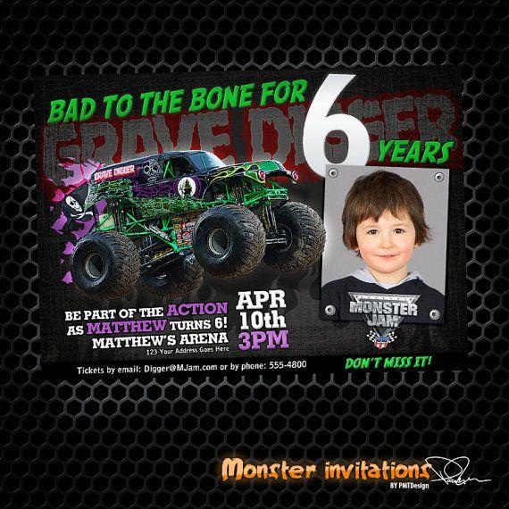 Monster Truck Birthday Invitations Monster Truck Printable Birthday Invitation Grave Digger Digger Birthday Parties Digger Birthday Birthday Party Invitations