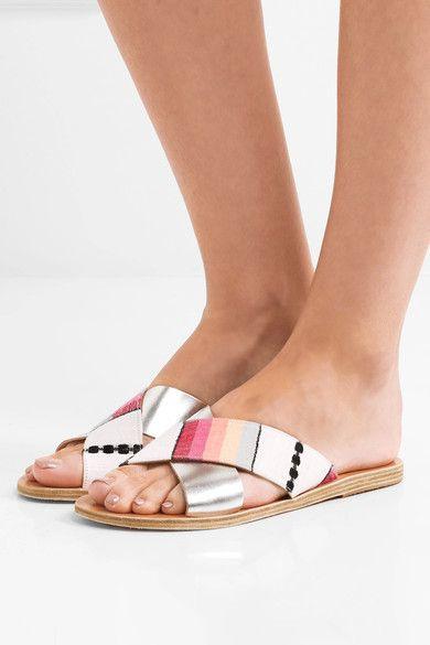 Ancient Greek Sandals - Lemlem Thais Metallic Leather And Jacquard Slides - Silver - IT38