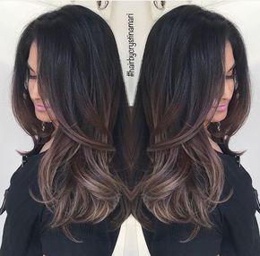 dark brown hair with ash brown balayage