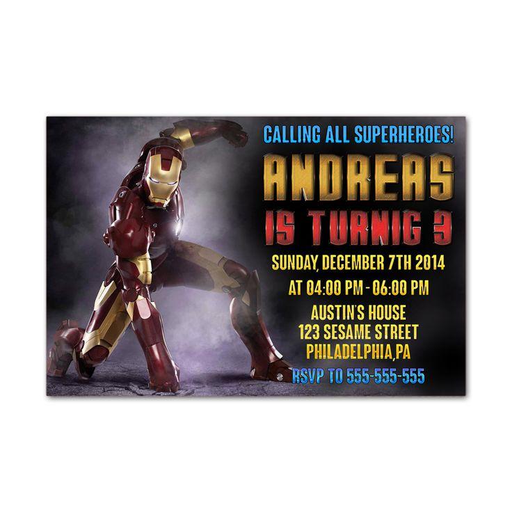 Iron Man Marvel Kids Birthday Invitation Party Design
