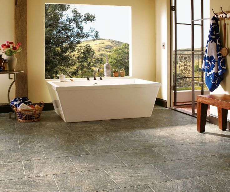 Armstrong Luxury Vinyl Tile | LVT | Blue Gray Stone Look | Bathroom Ideas