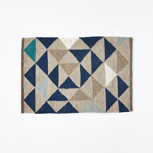 Framed Triangles Wool Kilim Rug | west elm