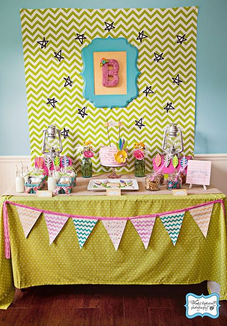 This is the most incredible birthday party that I've ever seen! Girly Camping Party