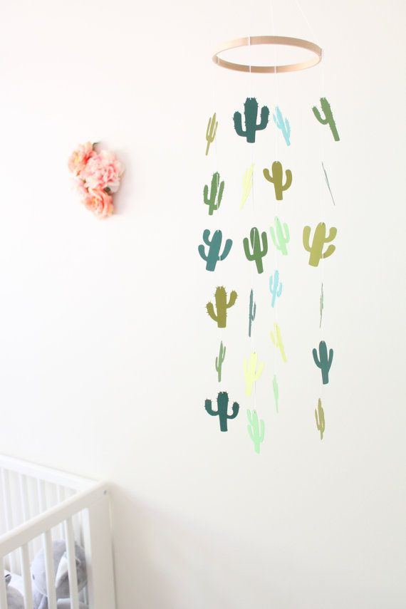 Cactus Mobile Baby Girl Boy Nursery Crib Cream by TheDreamBarn