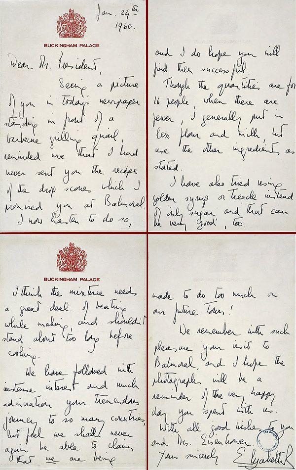Queen sends Eisenhower her drop scones recipe (1960) --the queen's scone recipe in her own handwriting-fun!