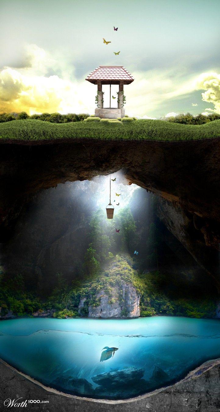 fairy tale wishing well.