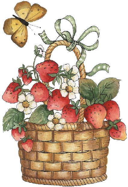 Basket with strawberries and butterfly