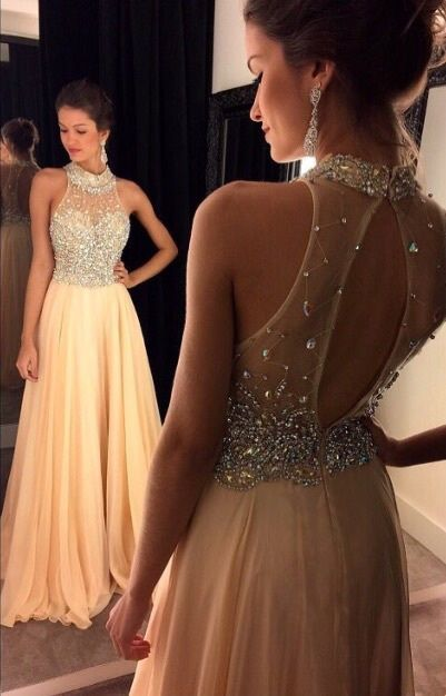 2016 Champagne Halter Prom Dresses Crystals Beaded Open Back Chiffon Long A-line…