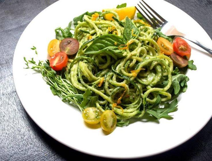 Raw Zucchini Pasta with Creamy Avocado-Cucumber Sauce | One Green Planet