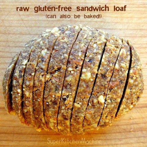 Raw Sandwich Bread - super good for you. made with chia and flax seeds, nuts, dates, garlic..
