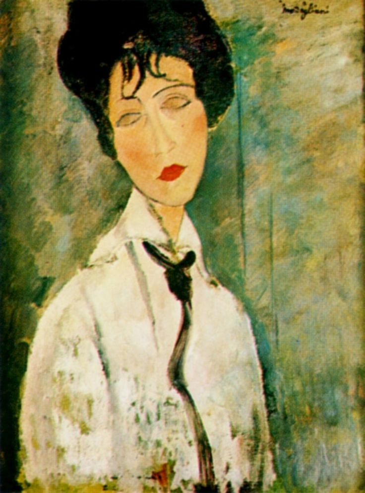 """""""Portrait of a woman with Black Cravat"""" in 1917 by Modigliani (1884-1920). Oil on canvas (65x50cm). Collection Fujikawa Galleries, Tokyo. """"Over the years, Modigliani developed a number of stylistic features, such as the strong emphasis he places upon lines and the surfaces that they enclose, his elegant elongation and distortion of bodies, and the almond shapes which he gives the often asymmetrically-placed eyes."""" by Doris Krystof"""