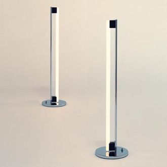Tube LIght by Eileen Gray 1927. Floor lamp, chromium-plated with black plastic lamp socket, foot switch.