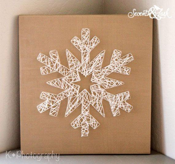 Create your Own Snowflake String Art - DIY Kit - Do It Yourself - Snowflake String Art - String Art - Holiday Decor - Winter - Christmas