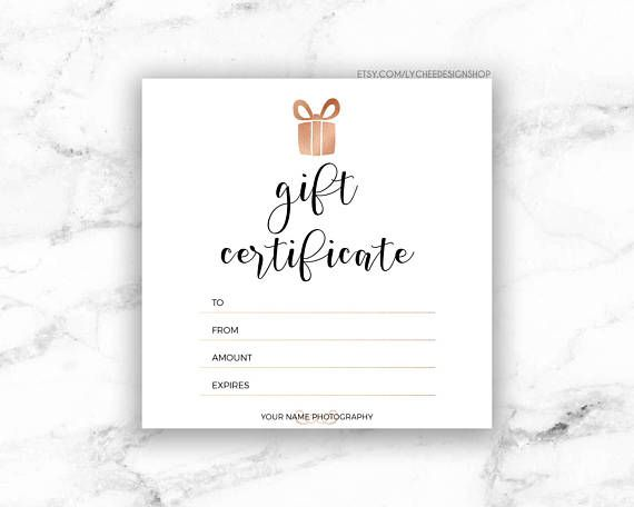 Printable Rose Gold Gift Certificate Template Editable Etsy Gift Certificate Template Word Gift Card Template Free Gift Certificate Template