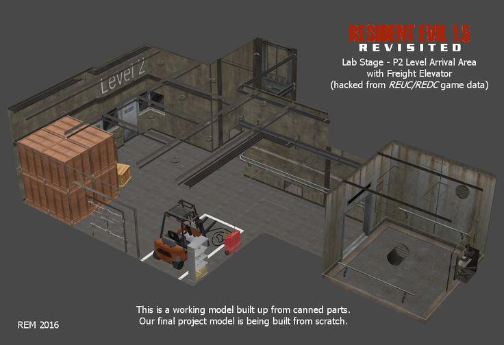 Lab - P2 Arrival Area and Elevator (working model) by RE15REvisited.deviantart.com on @DeviantArt