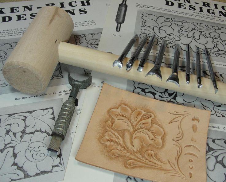 Vintage Leathercraft Starter Set - Stamps, Mallet, Swivel Knife & Patterns