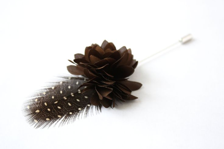 Flower and Feather Lapel Pin - Wedding Boutonniere - Brown Dahlia Flower and brown vulturine guinea fowl feather - Dapper Men Wedding Groom by TheGreyDeer on Etsy