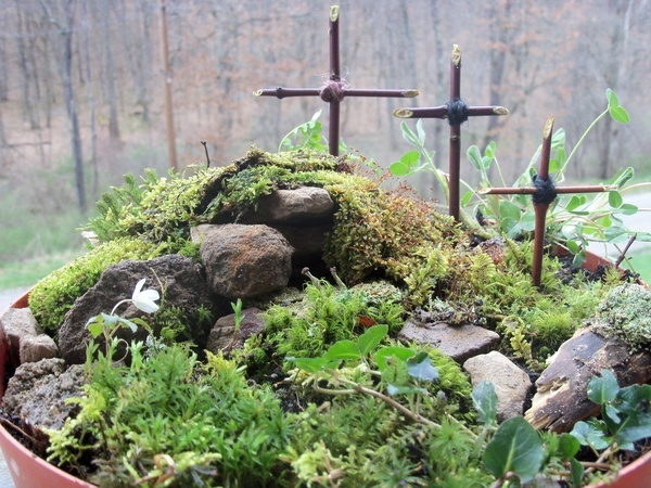 Well, the kids and I finished our resurrection garden! Inspired by Anne Voskamp originally, we made the 3 crosses from dogwood twigs, and gathered the moss and little plants from the woods. Made the tomb and put a rolled away rock in front to finish. We really enjoyed this project! 73DayDreamer
