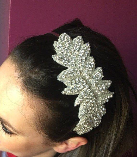 Silver Diamanté Crystal Bridal Headband Hairband 1920s Flapper Gatsby Art Deco
