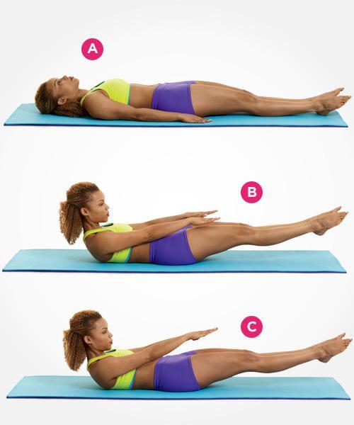 Pilates gyakorlatok a feszes és lapos hasért 1. Feküdj hanyatt, a kezeidet helyezd a tested mellé egyenesen. Emeld fel a karjaidat és a fejed a lábad irányába – és a lábad is emeld fel pár centire a földtől. Miközben emelkedsz szívd be a levegőt, maradj ebben a pózban 5 másodpercig, majd fújd ki és feküdj vissza a kezdő állapota (szintén 5 másodperc). Egy szett 10 emelkedésből áll. Pihenj egy kicsit, majd ismételd meg 10-szer a szettet.
