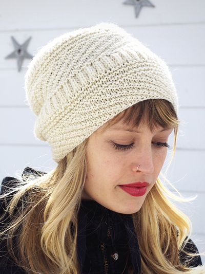 One Skein Knitting Pattern for Snoqualmie Hat -  ad Love the different  stitch textures in this slightly slouchy beanie. Uses 1…  8423ab82c08