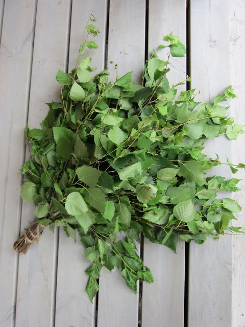 We use the vihta or vasta, made of fresh, preferrably young birch twigs, to beat ourselves to get the blood circulating in sauna. Sounds very medieval, but the scent of birch leaves is delicious in the sauna!