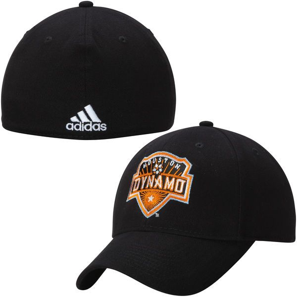 Men's Houston Dynamo adidas Black Team Logo Structured Flex Hat
