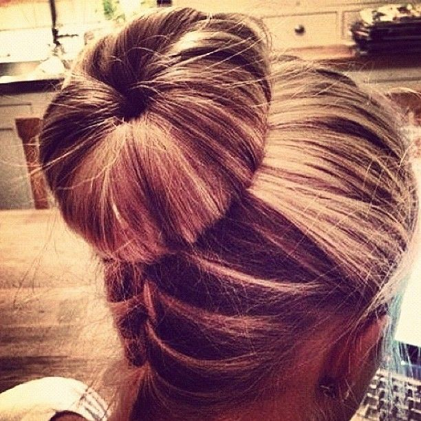 Love the backwards french braid, I like it with the bun too, just not necessarily a sock bun.