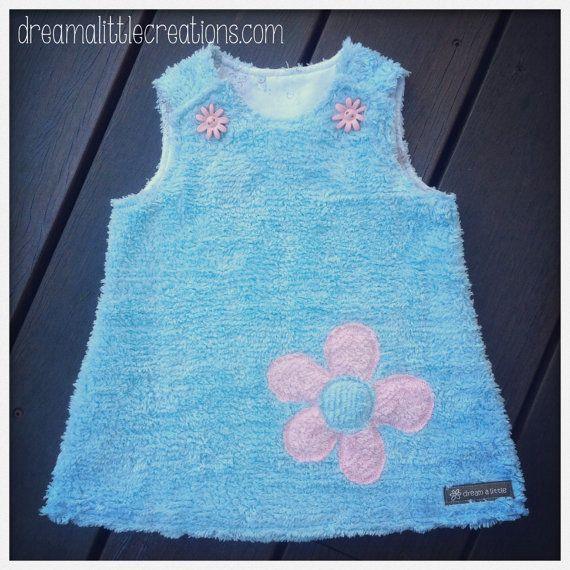 Fluffy  flower chenille aline pinny dress by dreamalittleshoppe