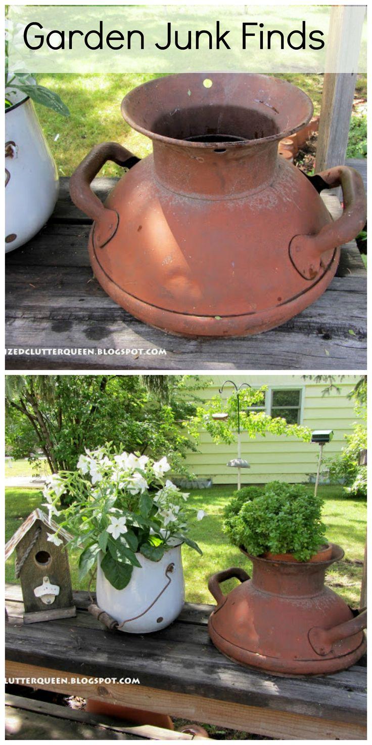 Garden Junk Finds - Milk Can Top as pot holder - Organized Clutter - Best 25+ Garden Junk Ideas On Pinterest Garden Ladder, Primitive