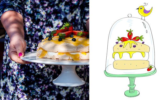Easter meringue cake with lemon curd