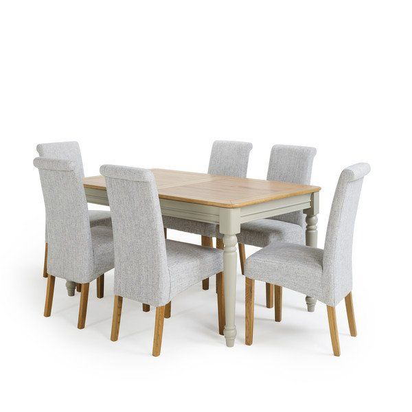 Natural Oak And Painted Dining Sets 4ft 9 Dining Table With 6
