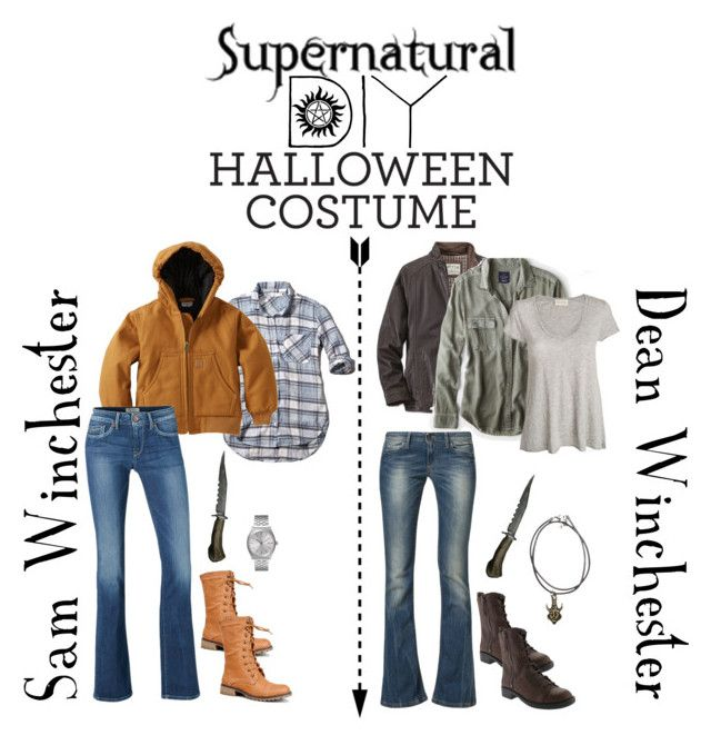 """Supernatural DIY Halloween Costume: Sam And Dean Winchester"" by alyssaclair-winchester ❤ liked on Polyvore featuring American Eagle Outfitters, American Vintage, Benetton, Nine West, Abercrombie & Fitch, Carhartt, Pepe Jeans London, Nature Breeze and Nixon"