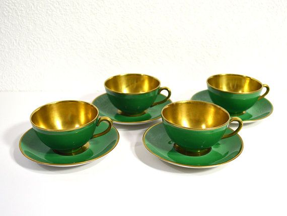 1920s Tea Cups with Saucers Set of 4 Karlskrona by ReCreative85